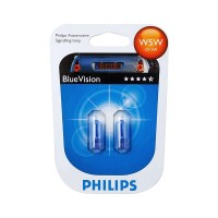 Автолампы 12961BV Philips BLUEVISION W5W 12V-5W (комплект 2 шт) 12961BVB2