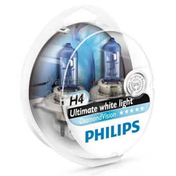 Автолампы 12342DV Philips H4 12V-60/55W Diamond Vision (комплект 2шт)